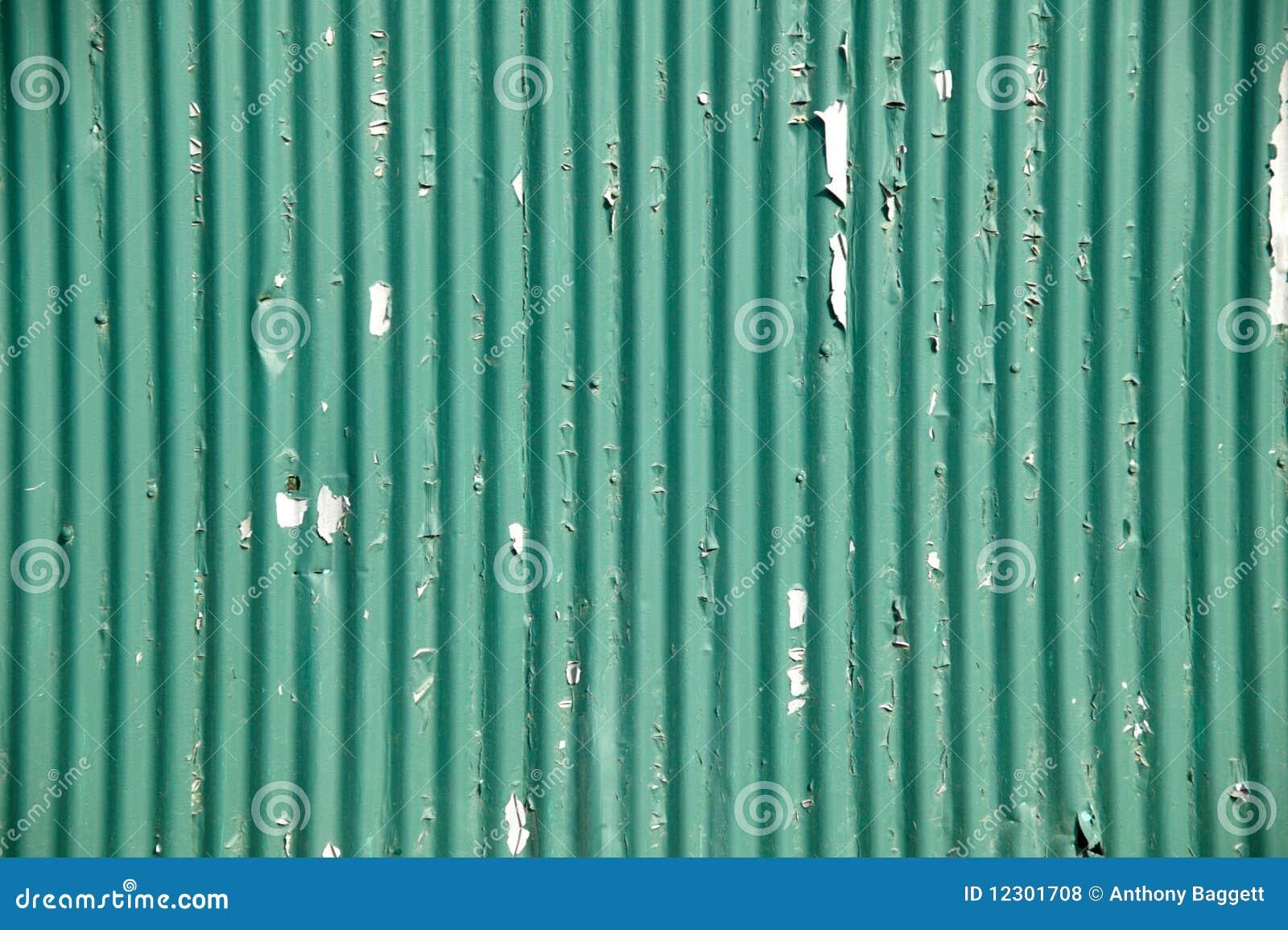 Green Corrugated Iron Fencing Stock Photo Image 12301708