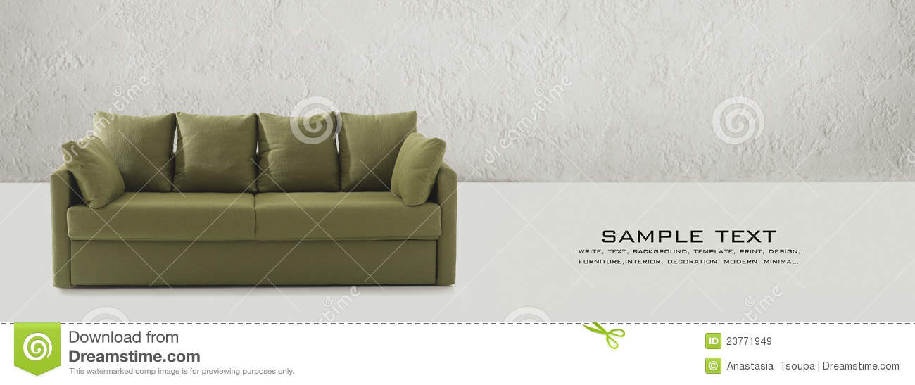 Green Couch On Business Card Stock Image - Image of furniture