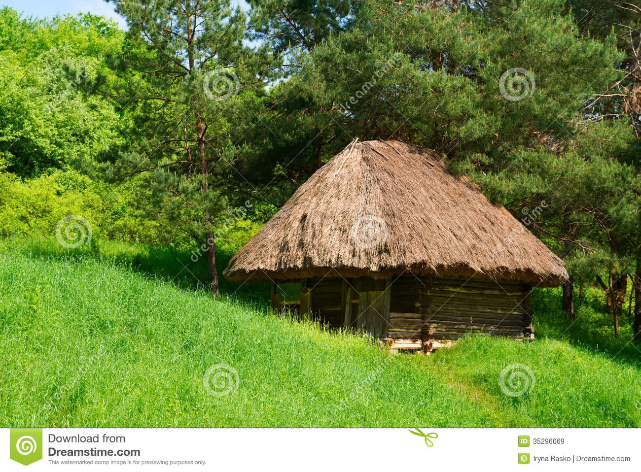 Green country authentic wooden house royalty free stock for Wood house images