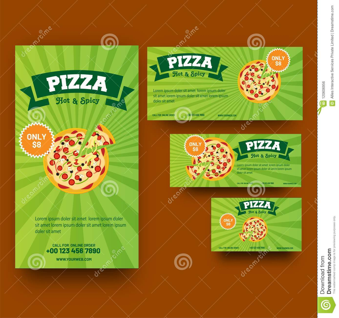 Green Coupon Or Template Set For Pizza Or Fast Food Corner Stock