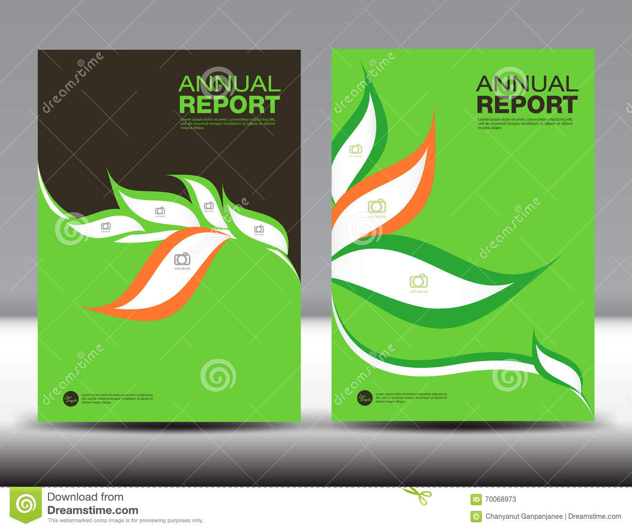 green cover annual report template set  cover design
