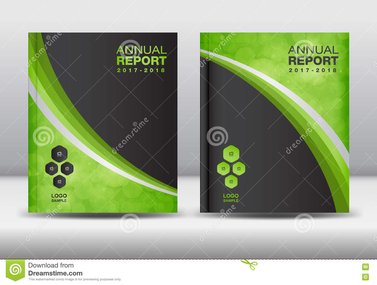 Green Cover Design And Cover Annual Report Stock Vector