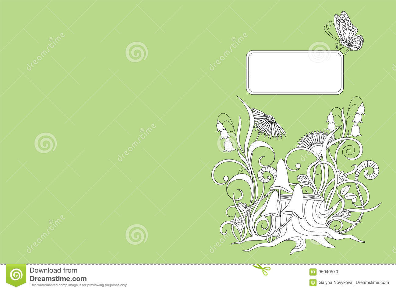 Green Cover Design Notebook With Plants And Butterfly Stock