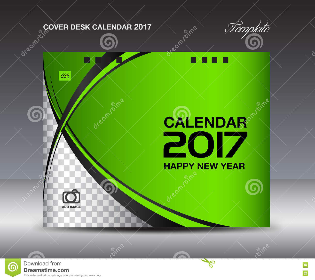 New Year Calendar Design : Green cover desk calendar design template