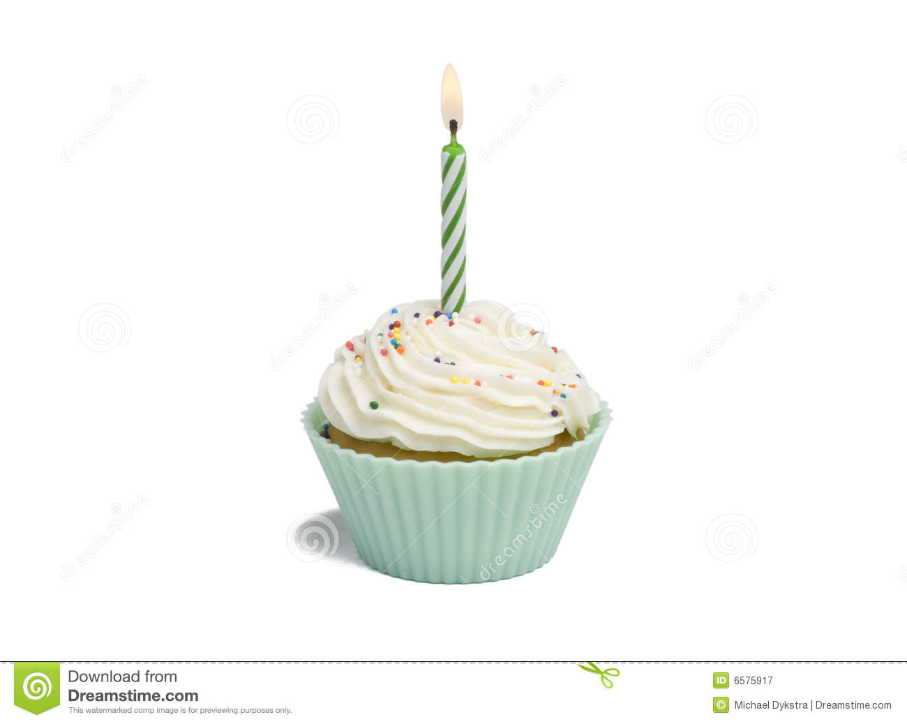 Green Cupcake And Candle Royalty Free Stock Photography