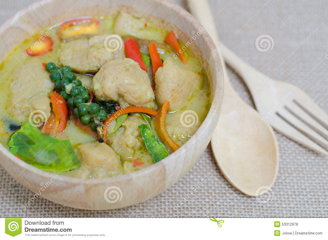 Green curry fish balls is thai cuisine royalty free stock for Cuisine on the green