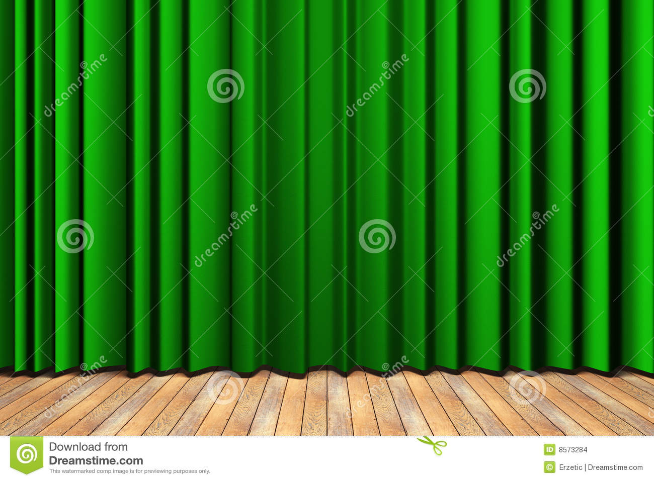 Green stage curtains - More