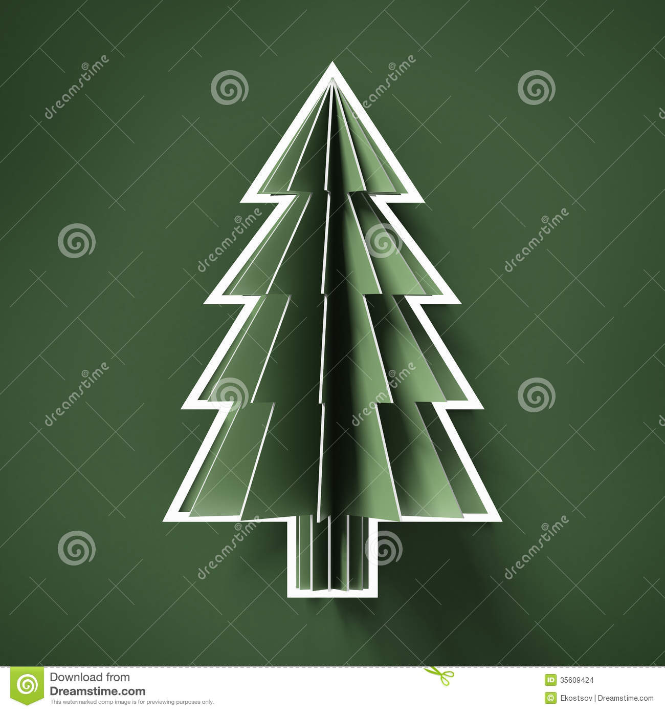 Royalty Free Stock Photo. Download Green Cut Paper Christmas Tree ...
