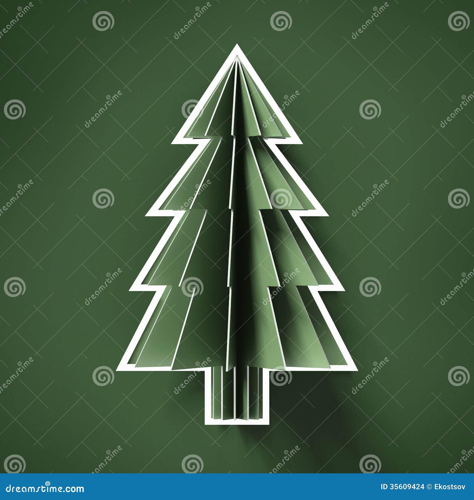 Green Cut Paper Christmas Tree Stock Illustration - Illustration of garland, hobby: 35609424