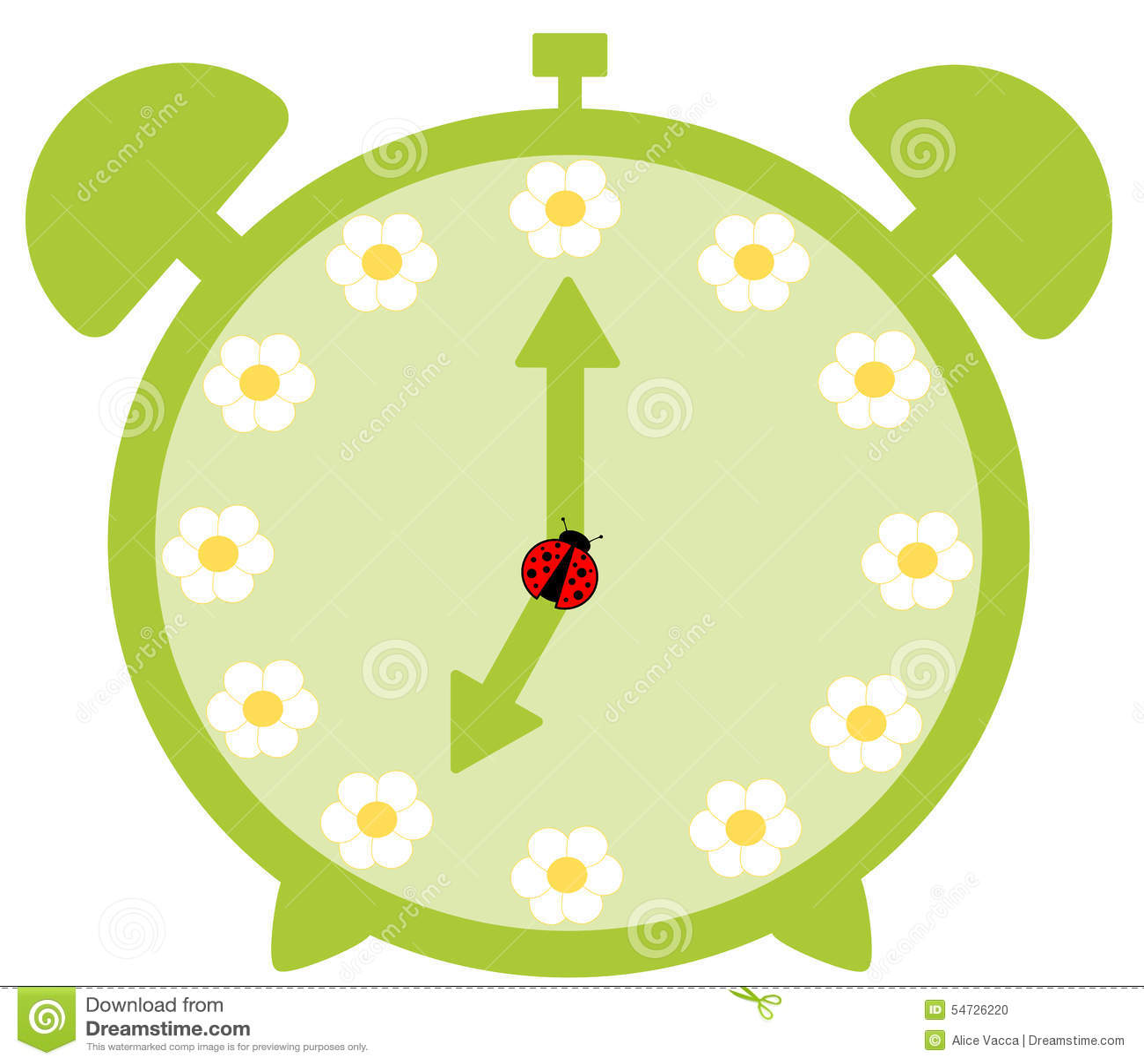 Green cute alarm clock with daisy flower stock illustration green cute alarm clock with daisy flower izmirmasajfo