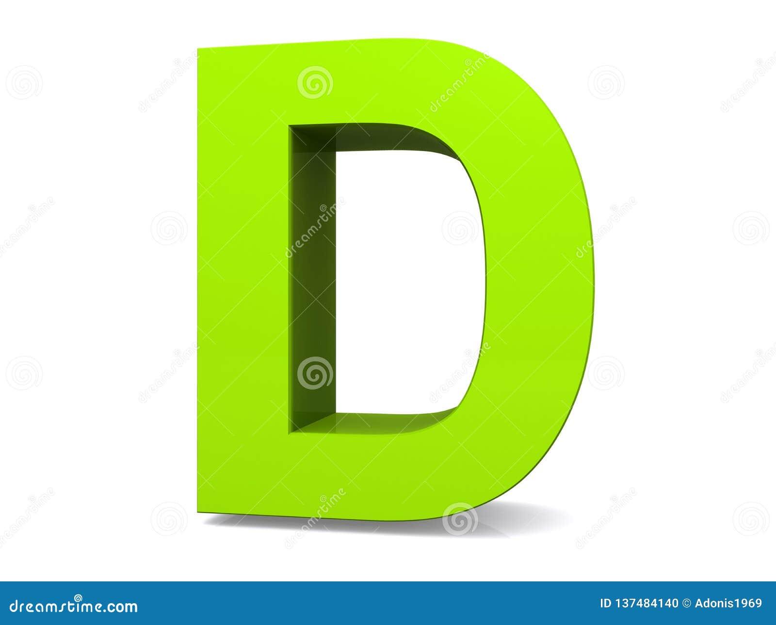 Green 3d letter D stock illustration. Illustration of lime ...