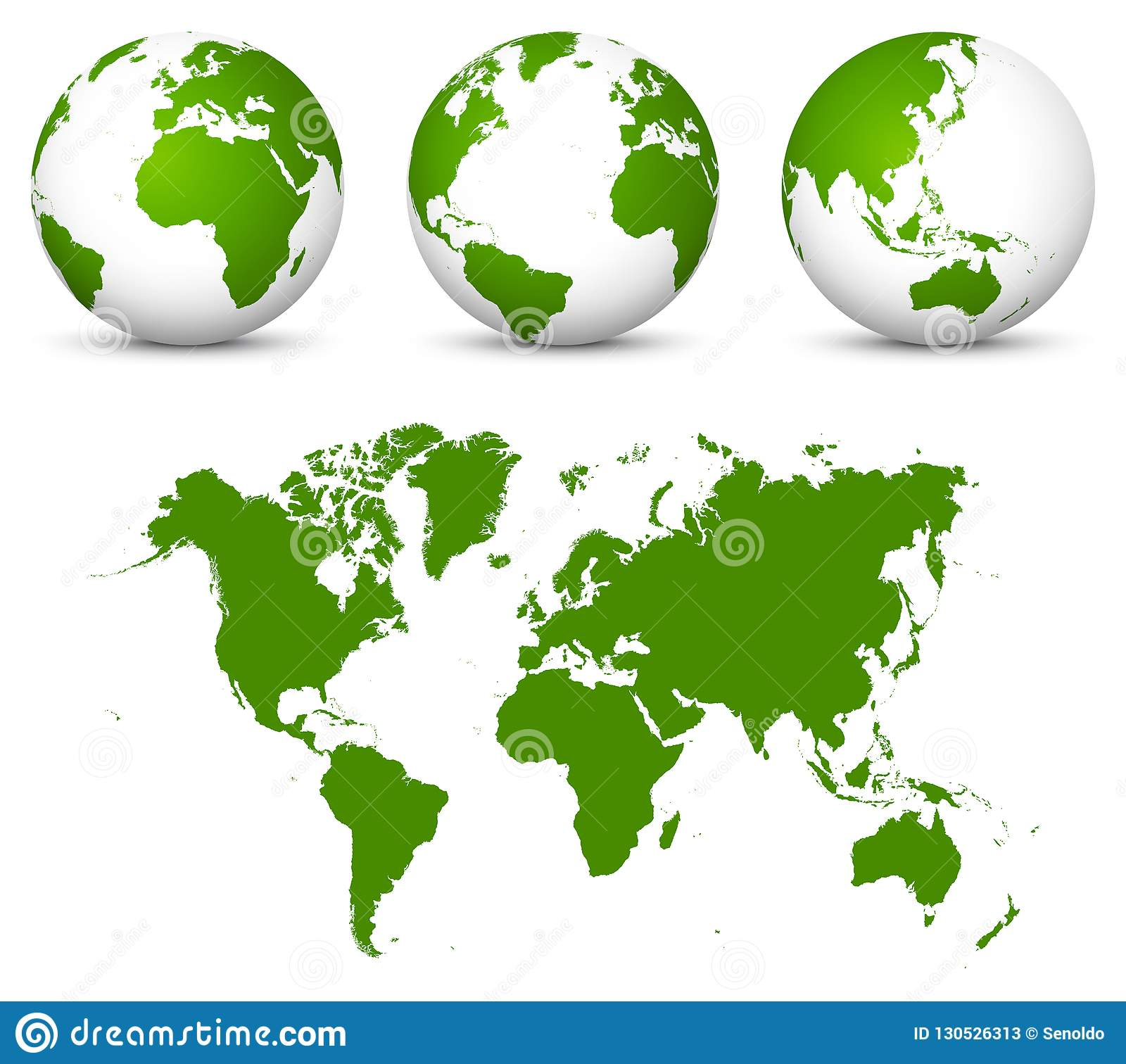 Color Your Own World Map.Green 3d Vector World Globe Collection And Undistorted 2d Earth