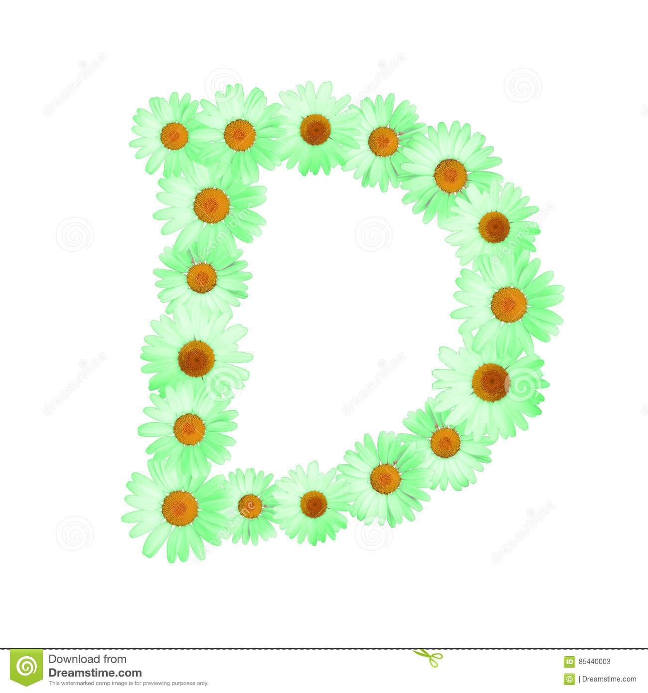 Green Daisy Letter D stock illustration. Illustration of isolated ...