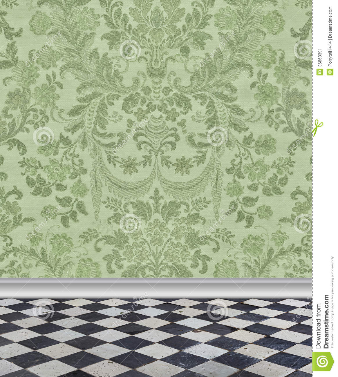 Elegant Cream Hallway With Damask Wallpaper: Green Damask Wall And Marble Floor Stock Image