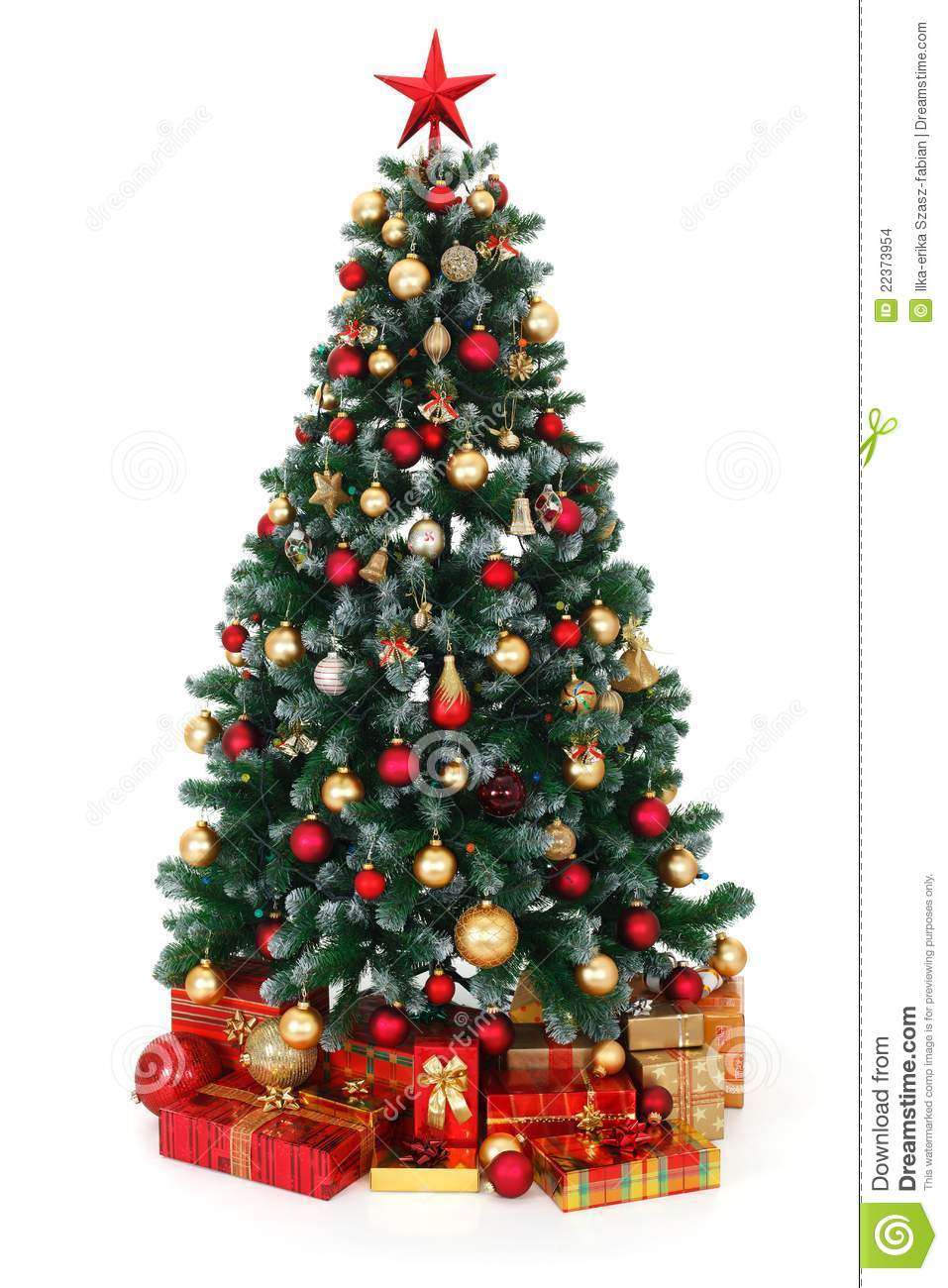 Christmas Tree Decorated.Green Decorated Christmas Tree And Presents Stock Photo
