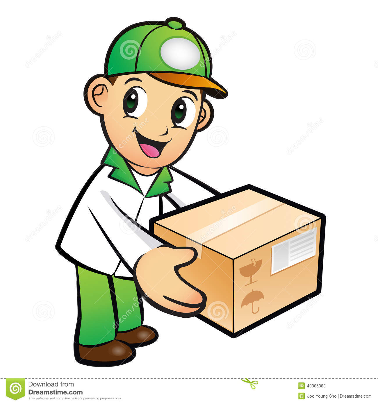 Green Delivery Man Mascot Moving A Box. Product And Distribution Stock ...