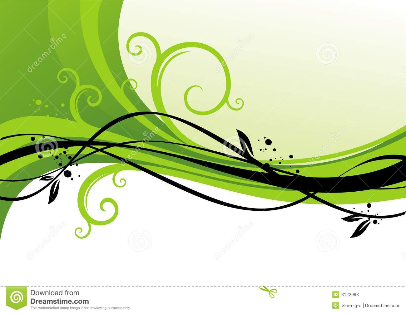 Green design with curls stock vector image of image Green plans
