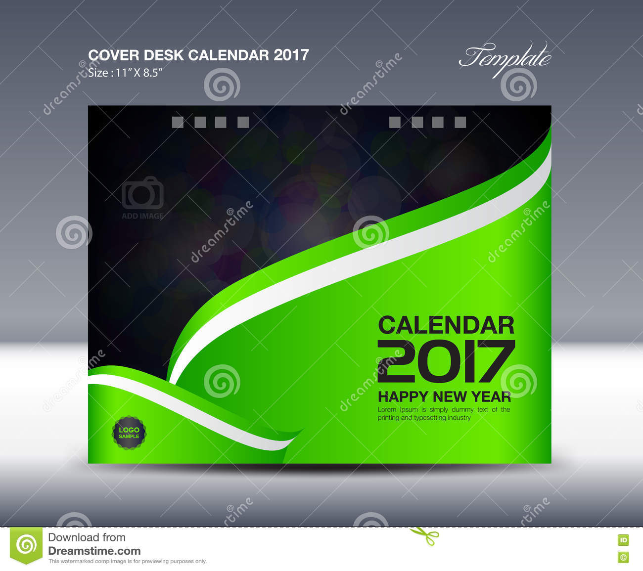 Cover Calendar Design Vector : Green desk calendar for year cover