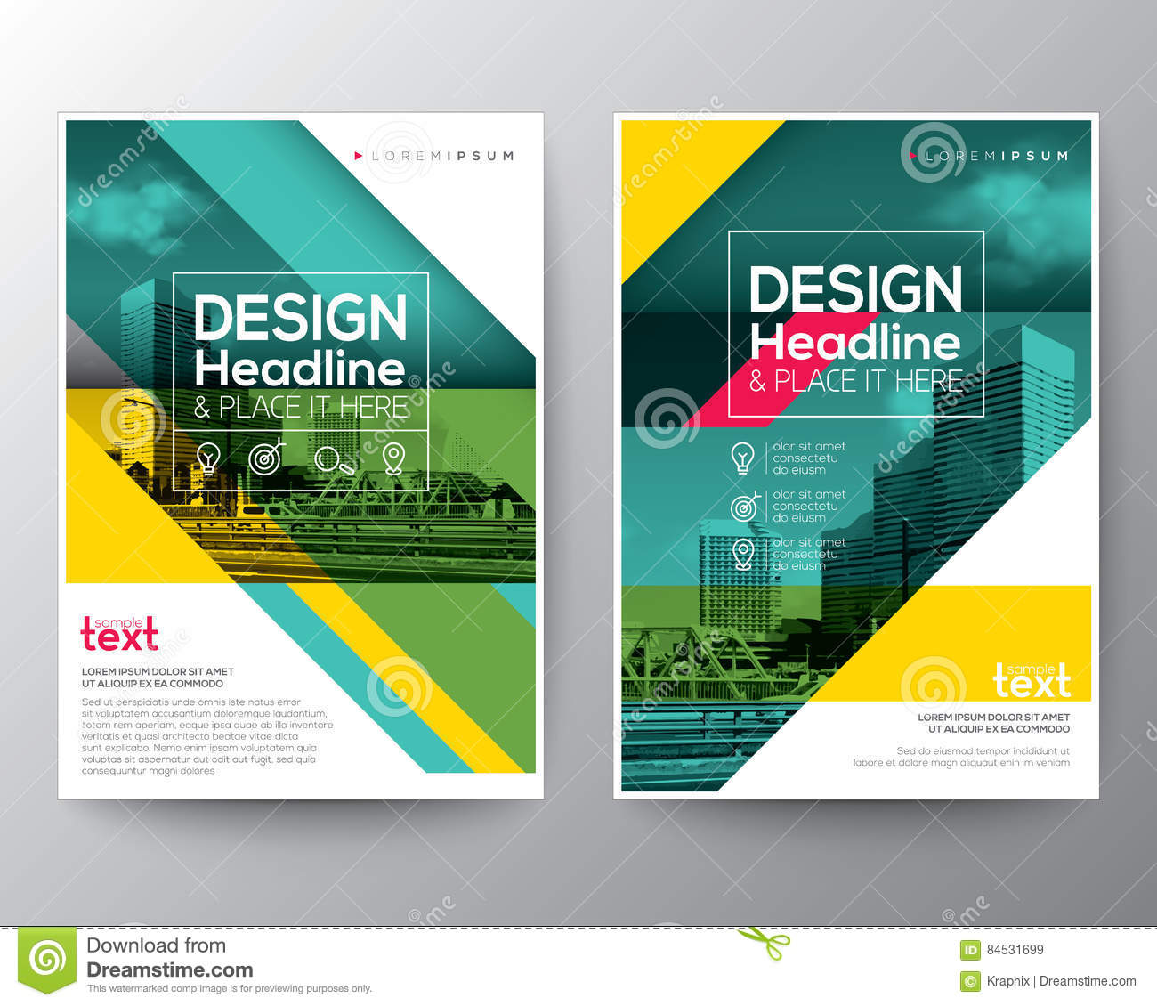 Green diagonal line Brochure annual report cover Flyer Poster Banner