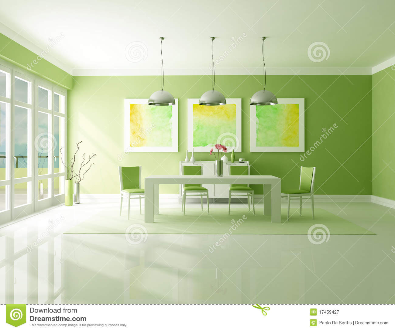 Green Dining Room Royalty Free Stock Photography Image 17459427