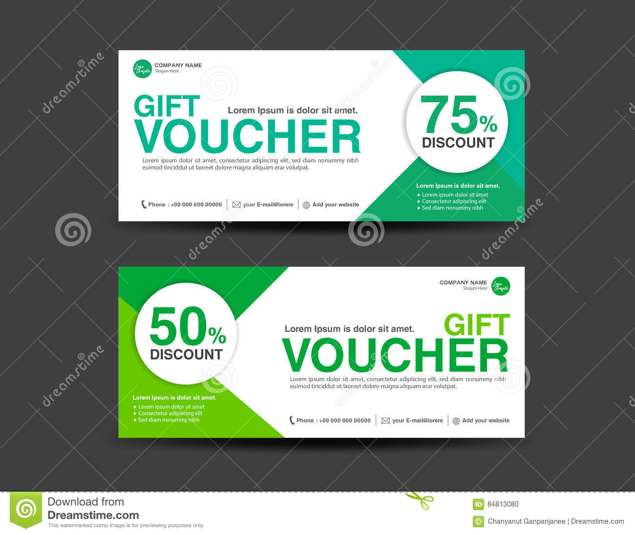green discount voucher template coupon design gift ticket stock