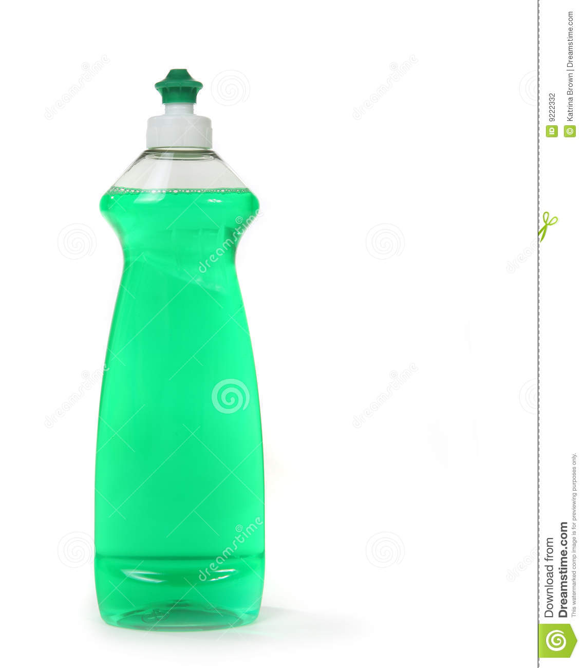 Green Dishwashing Liquid Soap In A Bottle Isolated Stock