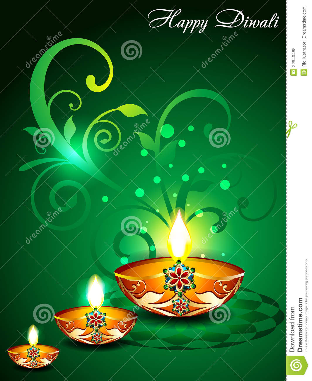 Green Diwali Background With Floral Stock Vector