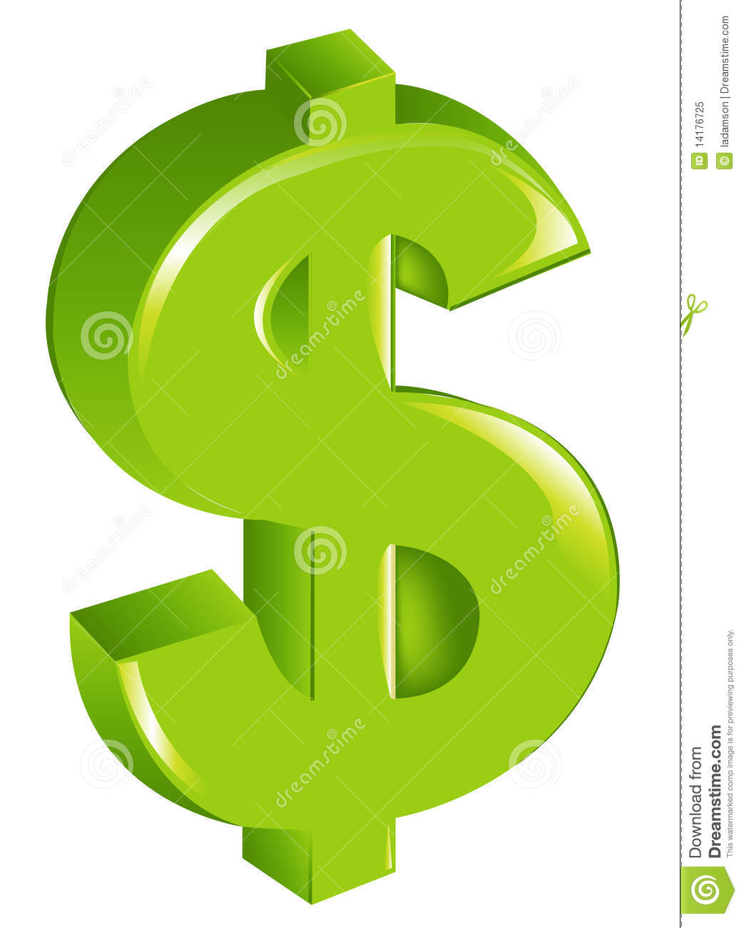 Green Dollar Sign. Vector Royalty Free Stock Photo