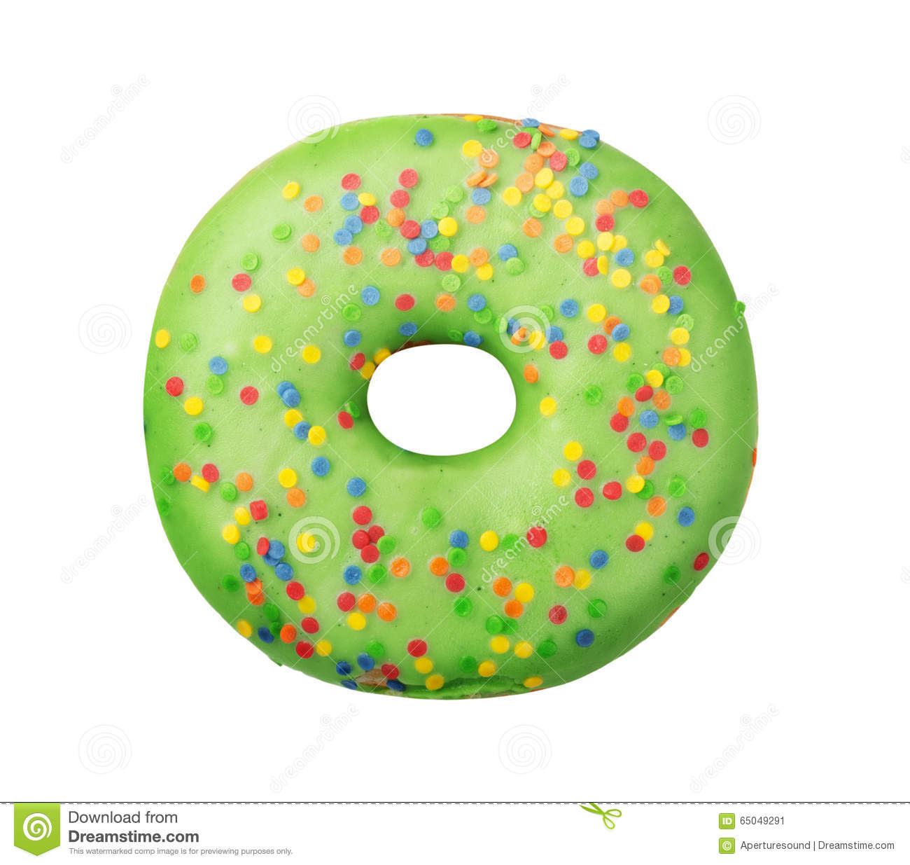 Green donut with sprinkles stock image. Image of donut ...