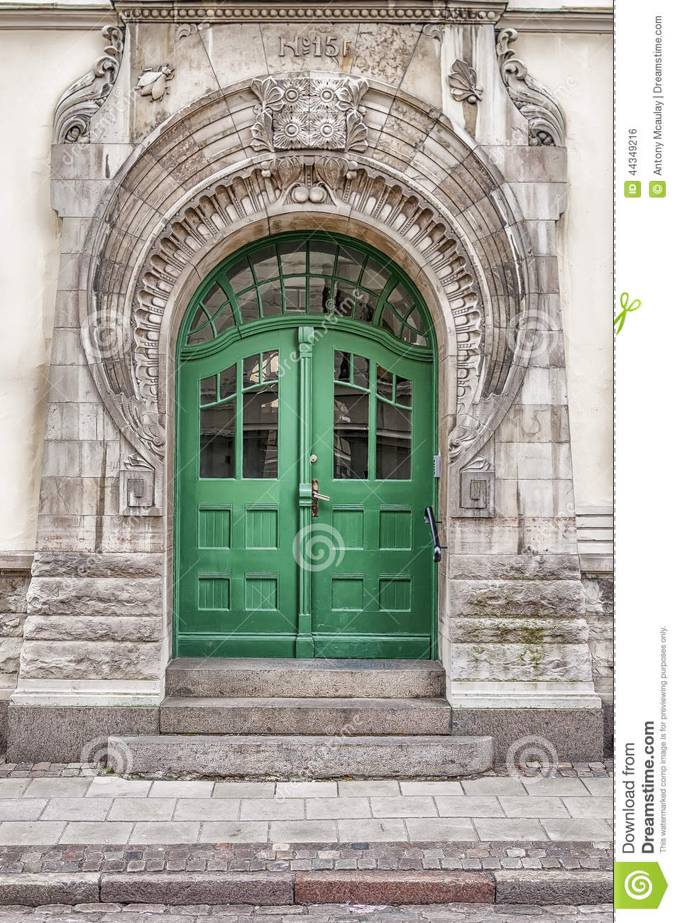 Green Door Art Nouveau Stock Photo Image 44349216