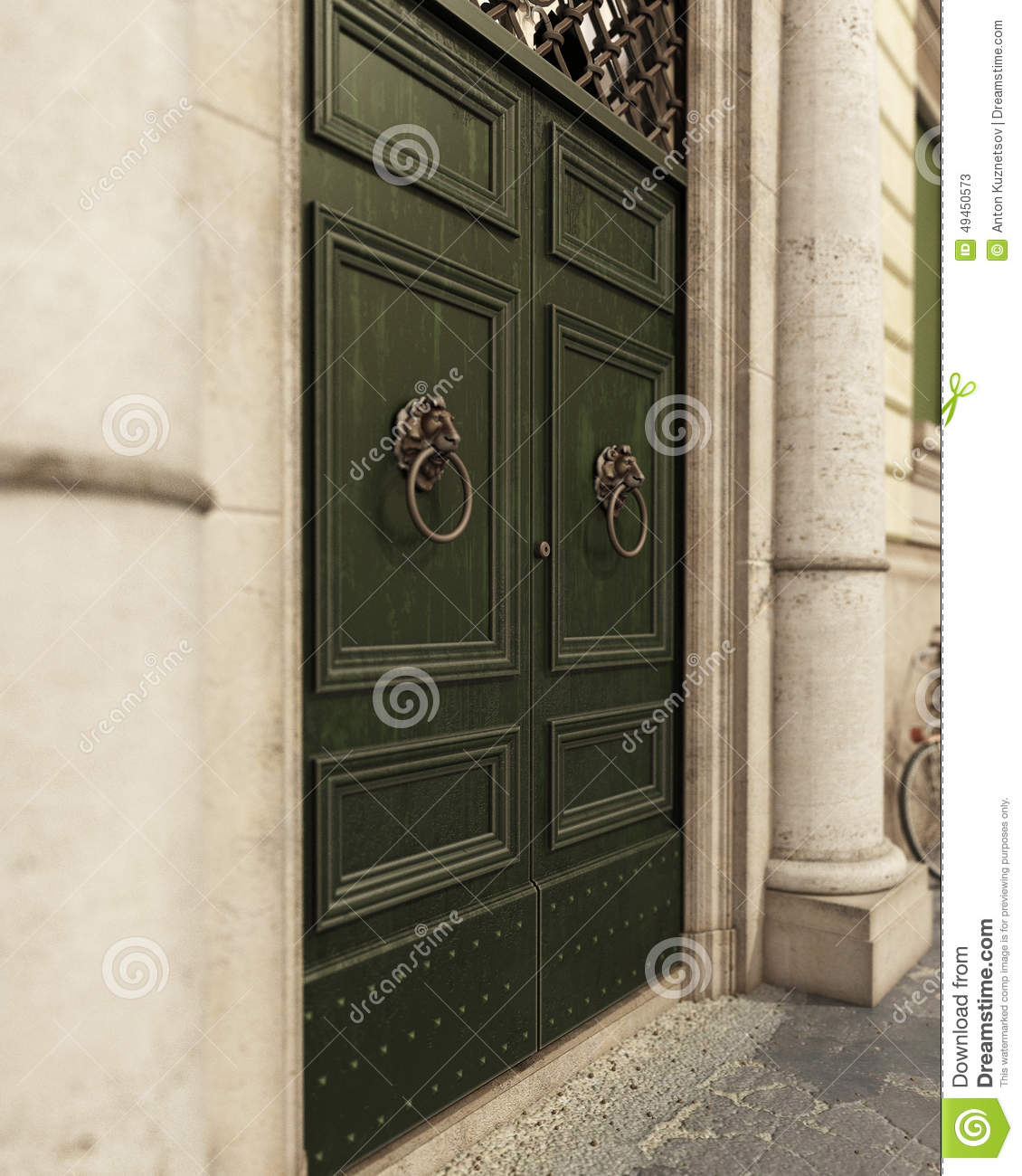 Medieval Front Doors: Traditional Medieval Door With Columns And Balcony Royalty