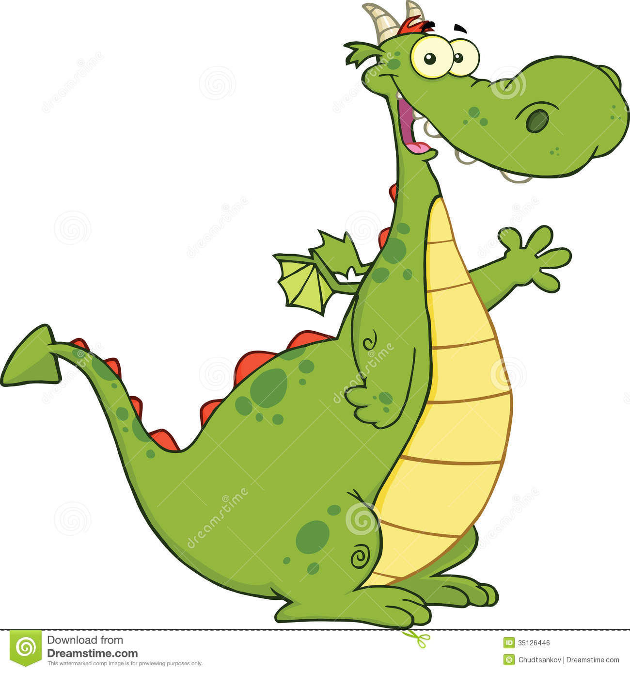 Cartoon Characters Green : Green dragon cartoon character waving for greeting royalty