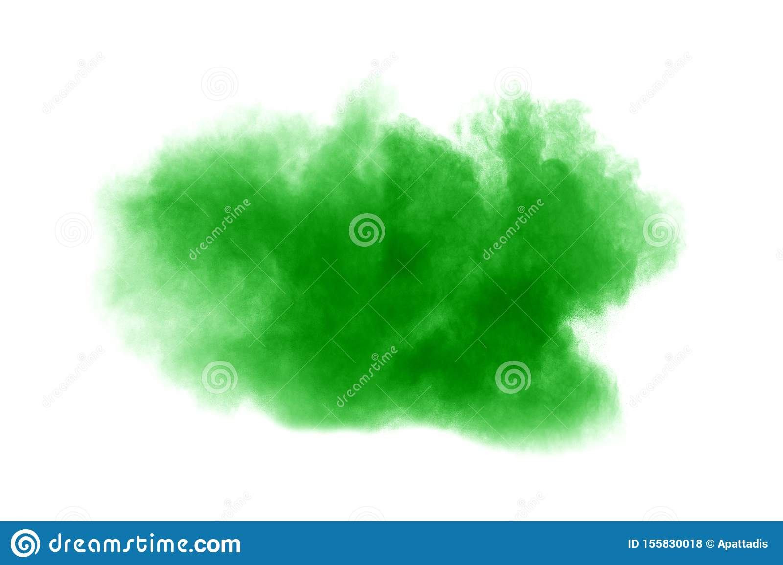 Green dust particles explosion on white background. Color powder dust splash