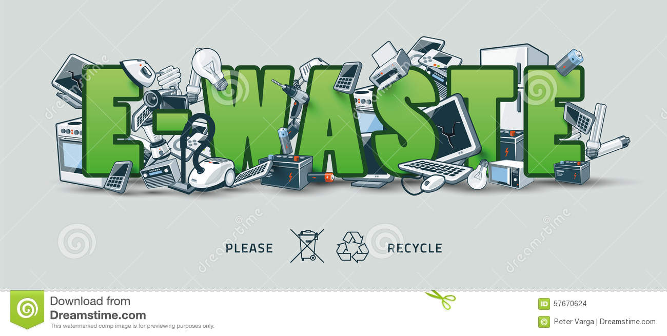 Green E waste Sign With Electronic Devices Stock Vector Image 57670624