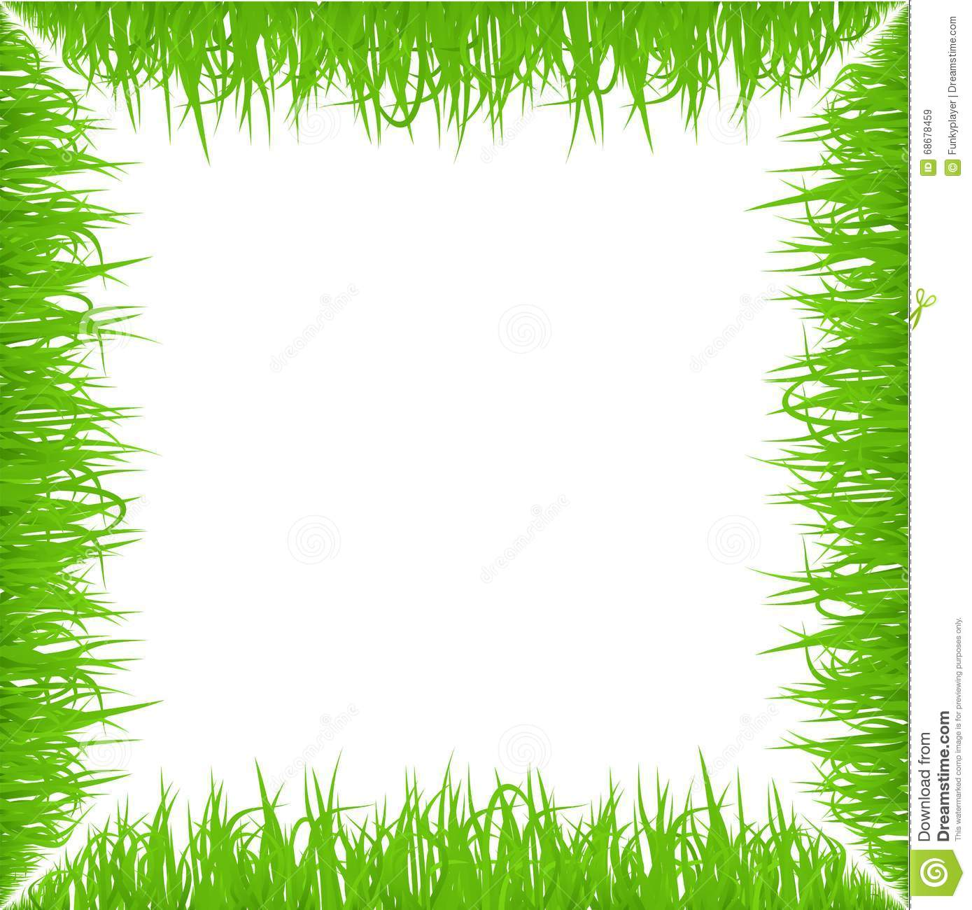 Green Early Spring Grass Frame On White Background. Realistic Eco ...