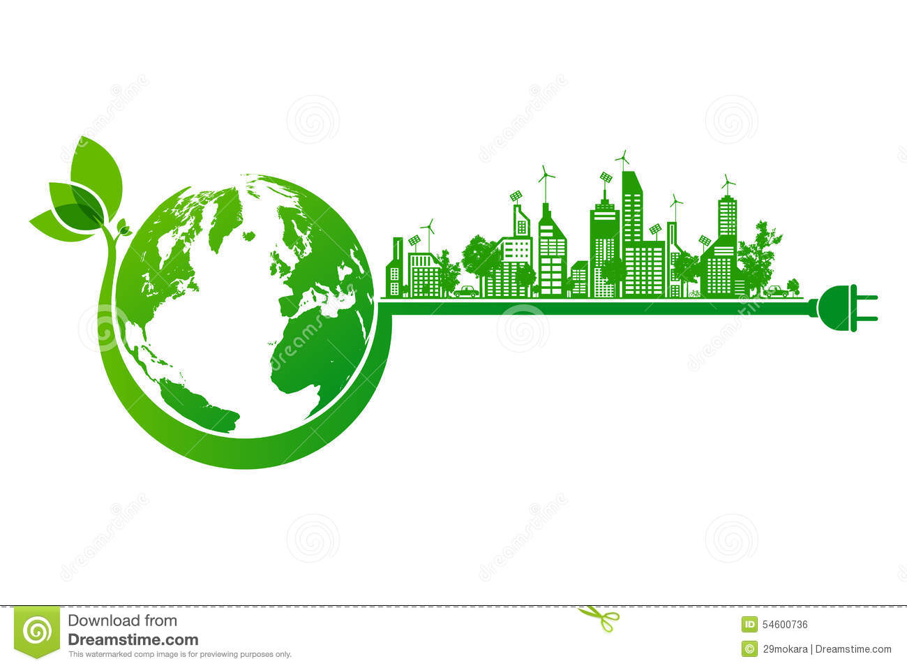 green earth and city eco concept stock vector. Black Bedroom Furniture Sets. Home Design Ideas