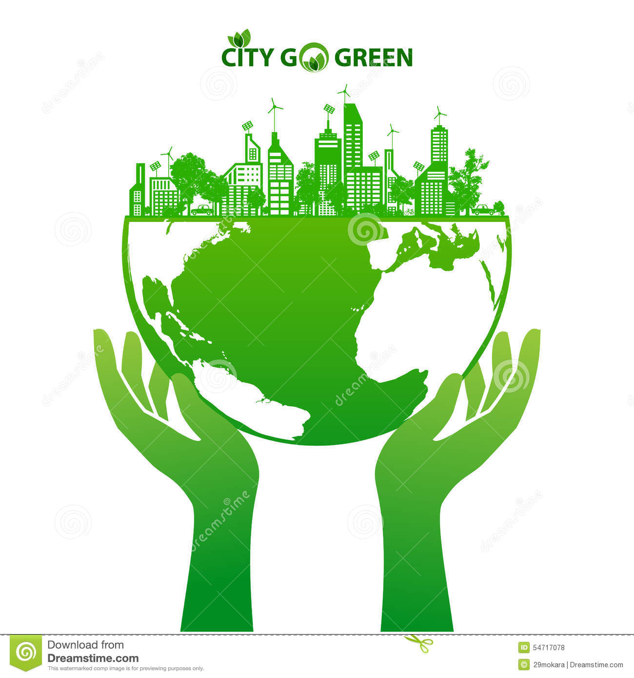 Ecoconcept green earth and city eco concept stock vector - illustration of