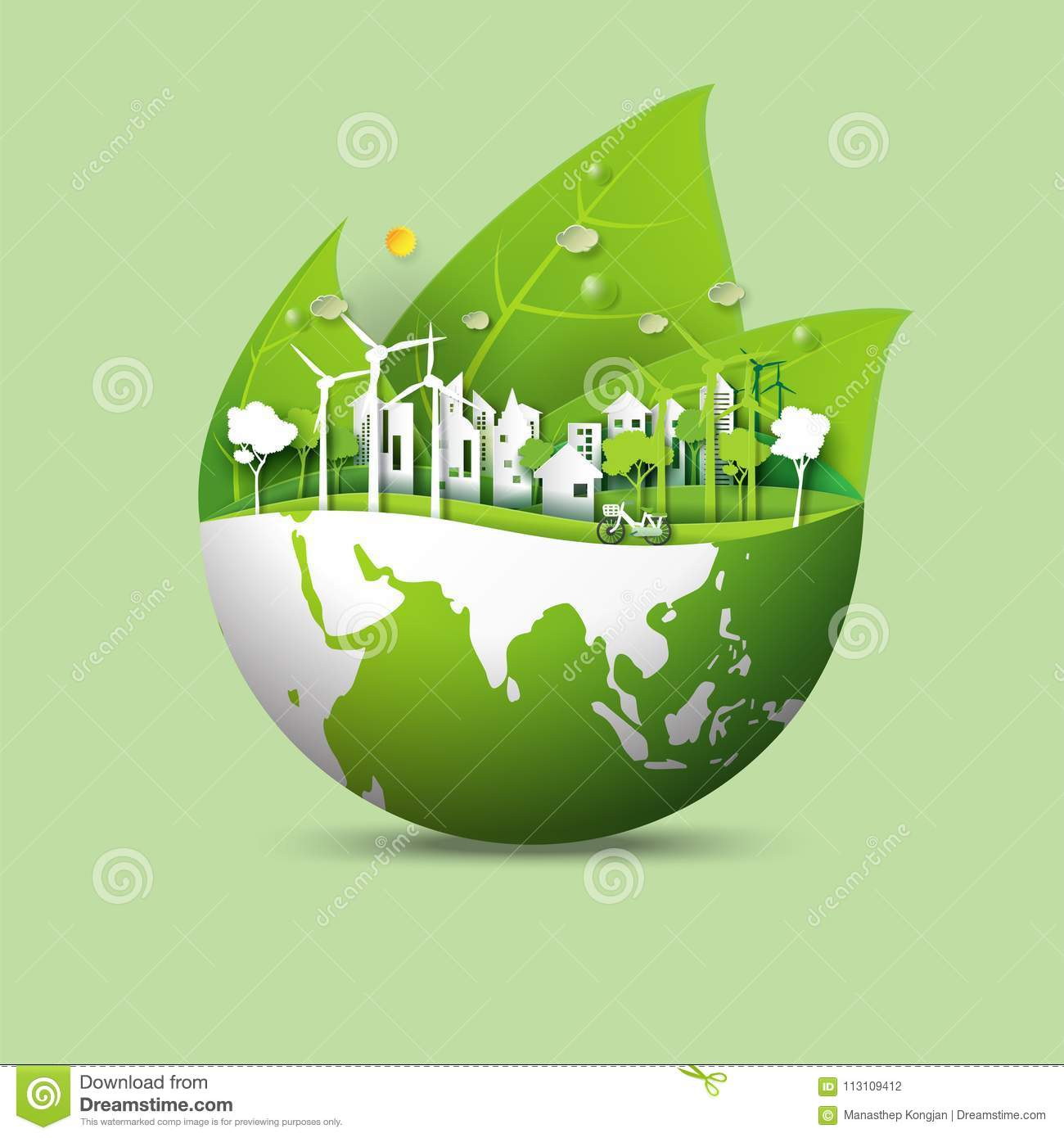 green earth and eco city concept stock vector. Black Bedroom Furniture Sets. Home Design Ideas
