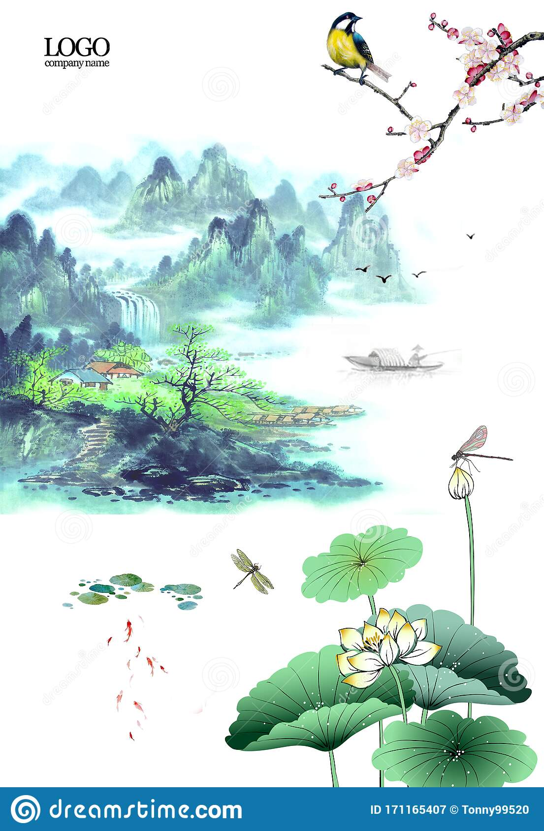 Chinese Style Background Material Of Chinese Ink Landscape Painting Stock Illustration Illustration Of Green Protecting 171165407