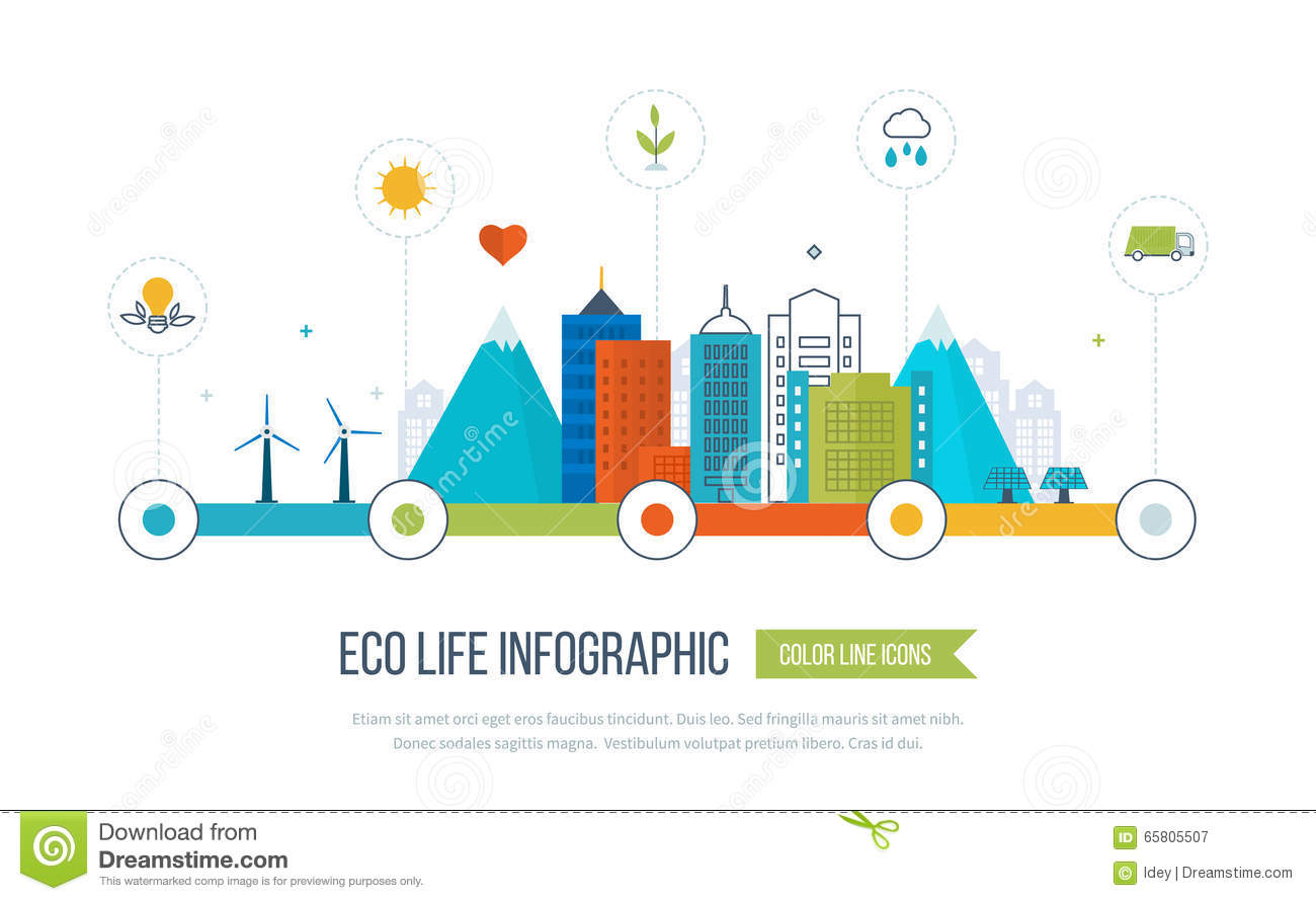 Green eco city infographic ecology concept stock vector for Modern cleaning concept