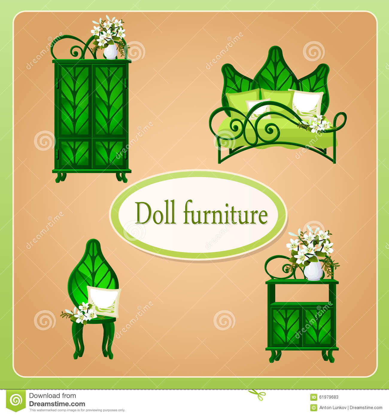 Green Eco Dollhouse Furniture Stock Vector Illustration Of Leaf