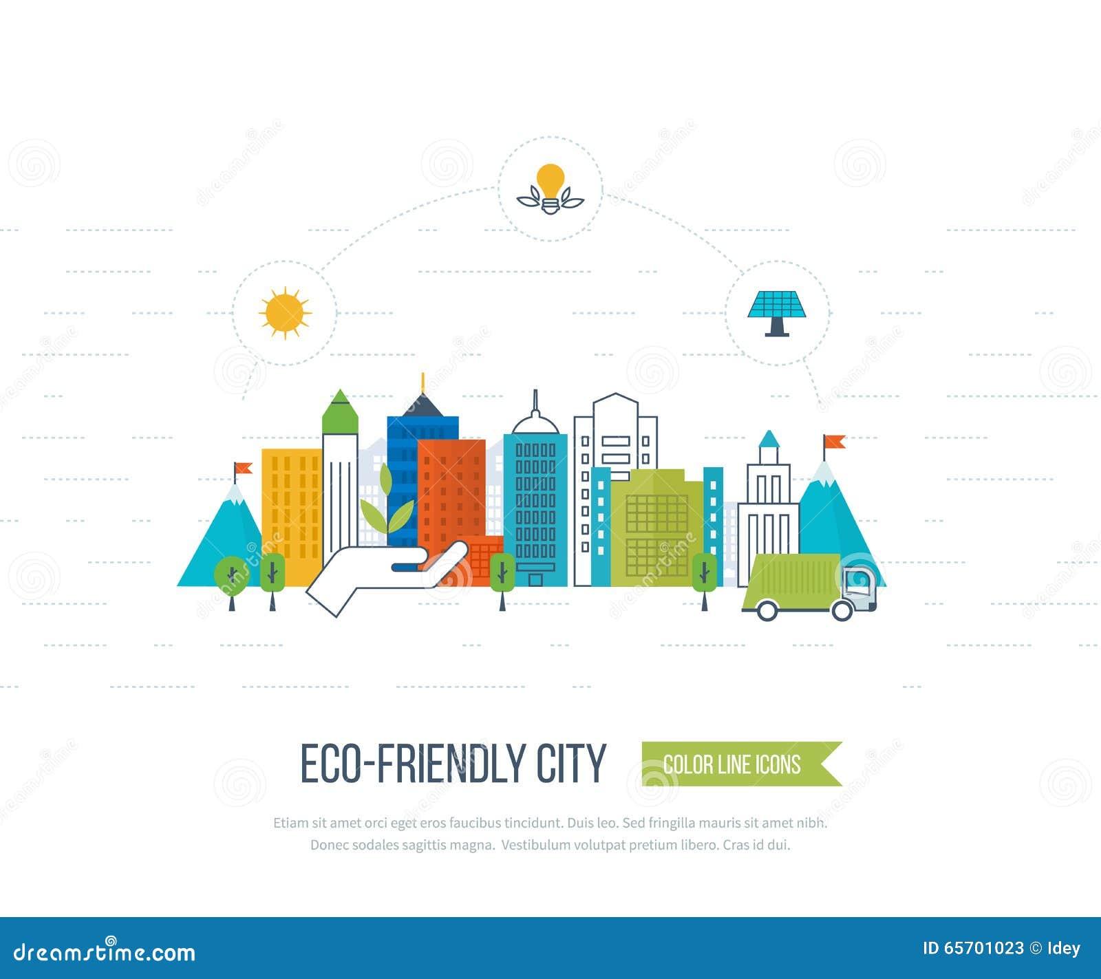 Environmental Concept Earthfriendly Landscapes: Green Eco And Eco-friendly City Concept. Stock Vector