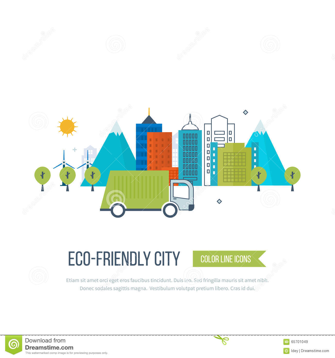 green eco and eco friendly city concept stock vector. Black Bedroom Furniture Sets. Home Design Ideas