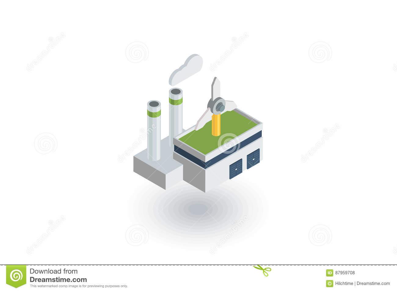 Green eco factory building, manufacture whith wind turbines isometric flat icon. 3d vector