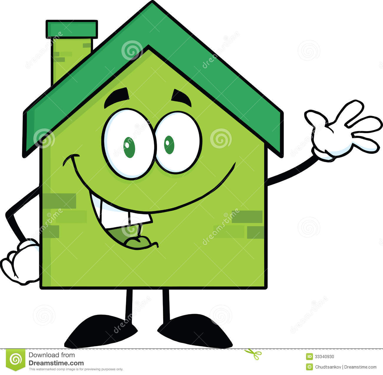 Cartoon Characters Houses : Green eco house cartoon character waving for greeting