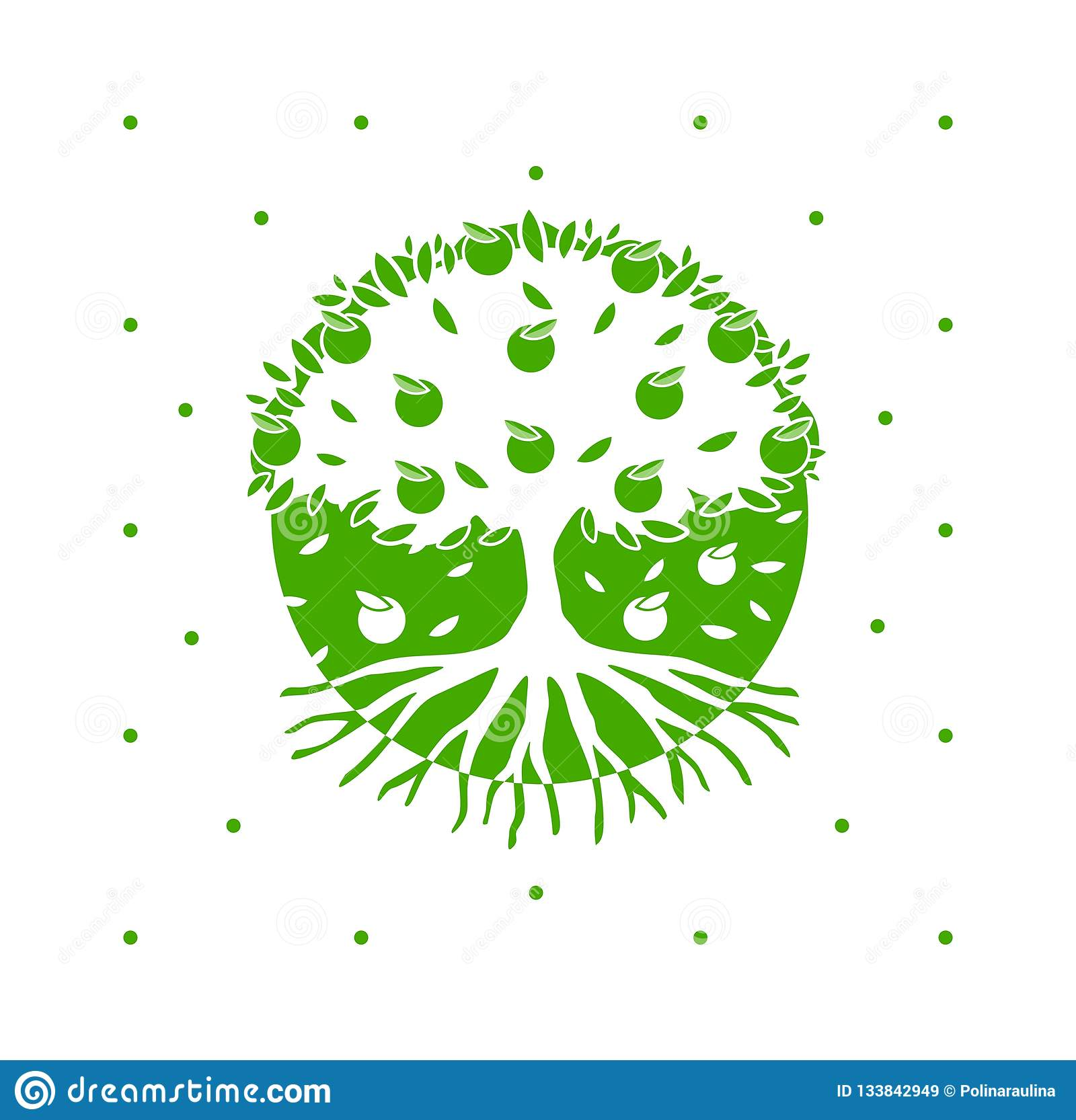 Tree Roots Logo Green Vector Apple Tree With Roots Stock Image Illustration Of Graphics Company 133842949