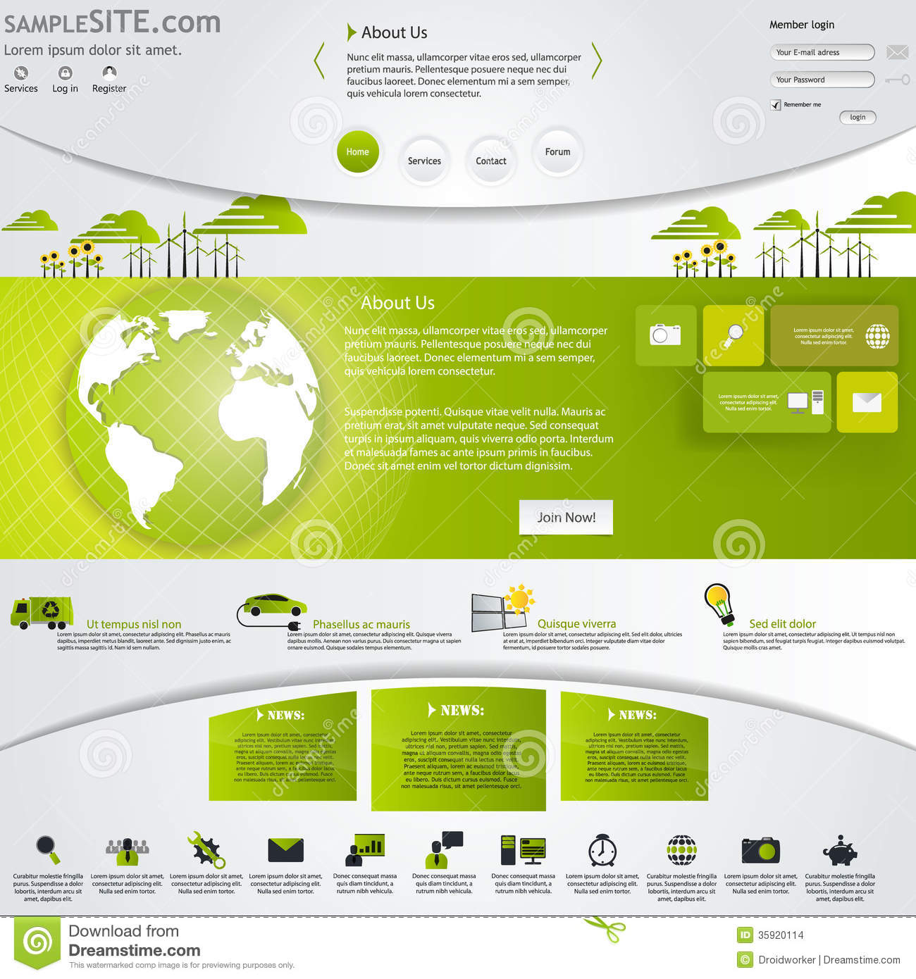 Site Map Template: Green Eco Website Template With Icons Set. Stock Images