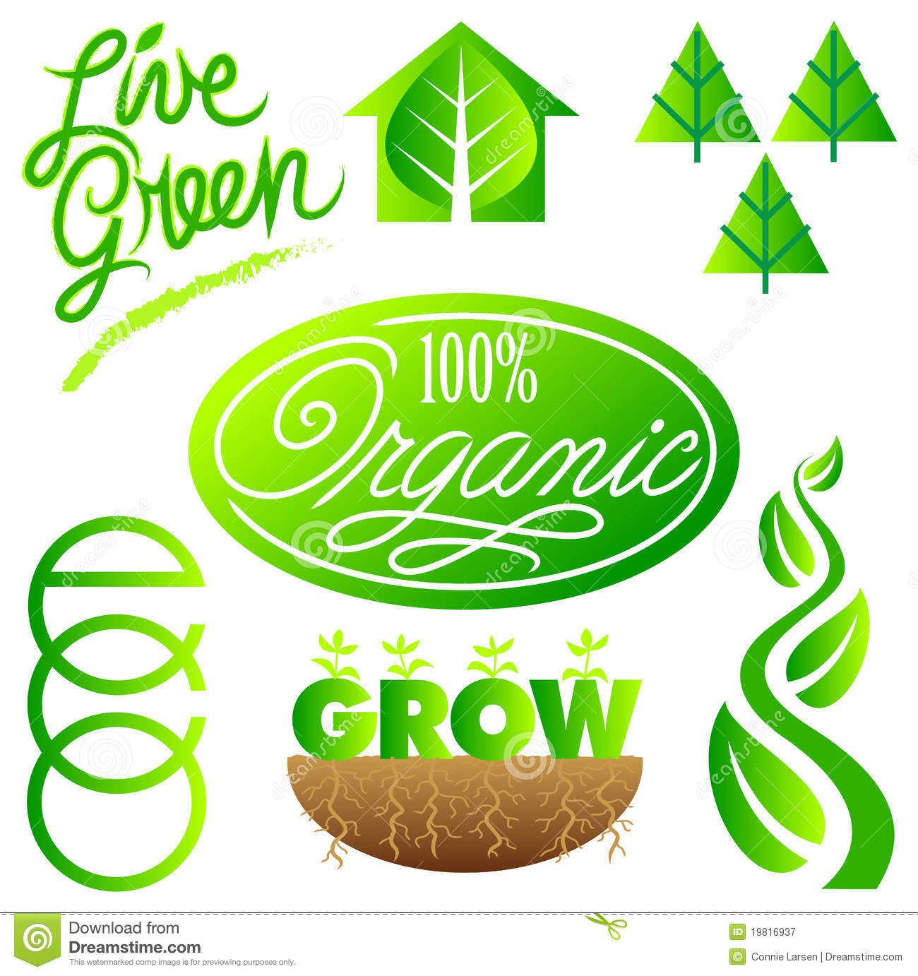 Green Ecology Clip Art Set/eps Royalty Free Stock Photography - Image ...