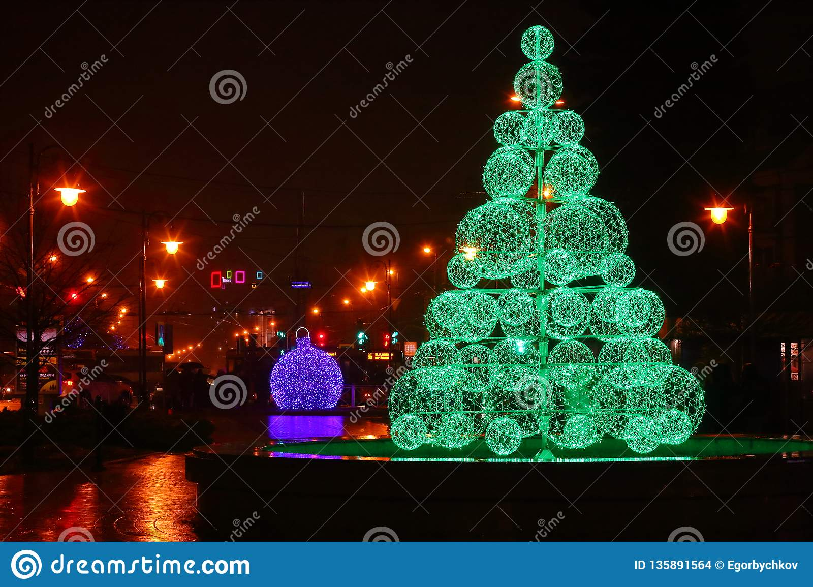 Green Electric Christmas Tree. Balls View Editorial Stock ...