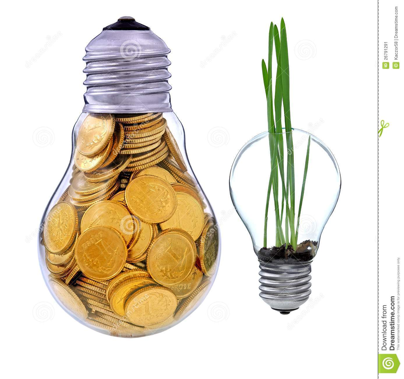 Green Electric Energy From Renewable Sources Stock Image